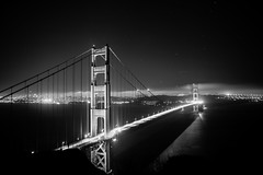 Golden Gate Lights (tofudrifter) Tags: bridges goldengate sanfrancisco blackandwhite stars lightstreams easteregg