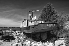 Anzac K (Mark Heine Photos) Tags: ca blackandwhite bw ontario canada water junk georgianbay clean clear junkyard shipyard wreck brucepeninsula pure tobermory relic portdover brucetrail tobermoryharbour anzack markheine