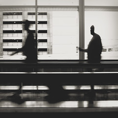 216 | 366 | V (Randomographer) Tags: project366 human people onthemove airport walkway movement blurred walking forward lines vertical horizontal black white bw monotone standing photograph 216 366 travel traveling explore