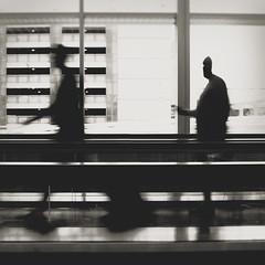 216 | 366 | V {explore} (Randomographer) Tags: print project366 human people onthemove airport walkway movement blurred walking forward lines vertical horizontal black white bw monotone standing photograph 216 366 travel traveling explore
