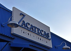 Tacos and Tequla (It Sure Feels Like Fall, Love It!!!) Tags: theweeklycolourchallenge blueandwhitetogether sign zacatecas tacosandtequela restaurant bar route66 centralave albuquerquenm