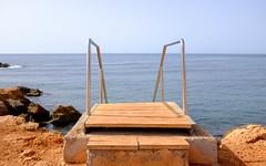 Fancy a dip? (ollietat) Tags: ocean sea santaeulalia ibiza summer beach steps horizon orange fujifilm fuji fujix100t x100t x100