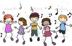 Kids Dancing (andreaprince) Tags: group illustration isolated art girl people cutout child boy cartoon children kids kid figure active music musical drawing clip dance song notes clipart sketch stick dancing beat rhythm scribble doodle energetic groove