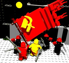 Political power grows out of the barrel of a gun (SuperLushFeverDream) Tags: lego legos vignette legovignette legoart communism socialism communist socialist soviet soviets sovietunion marxism marxist red maoism mao prc littleredbook posterized posterization propaganda propagandaposter agitprop historicallego legoposter poster minifigs minifigures moc mocs