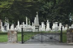 West Point Cemetery (lefeber) Tags: westpoint wpma hudsonvalley newyork rural cemetery gravestones graves graveyard trees fence gate posts stonewall rockwall masonry road