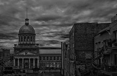 Storm over March Bonsecours (iron_fer) Tags: blackandwhite blancoynegro marchbonsecours montreal quebec canada travel urban architecture building city storm clouds sky