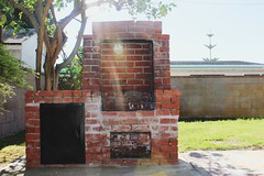 Structure// A thing in my backyard (makaylarichardson) Tags: contrast bonfire fire grill fireplace structure brick
