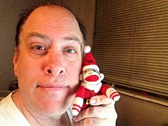 Day 1087 - Day 357: with the Christmas Sock Monkey (knoopie) Tags: selfportrait me december doug year3 picturemail iphone 2014 knoop day357 365days knoopie 365more 365daysyear3 day1087