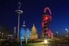 Olympic Park at Christmas (John Parfrey) Tags: christmas tree night christmastree bluehour olympicpark stratford london2012 arcelormittalorbit