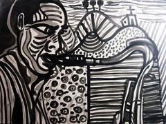 Saxofonista (Ropalhares) Tags: white black art branco paper acrylic preto papel