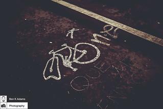 Bike Lane Graffiti - Cheshire Street Footbridge