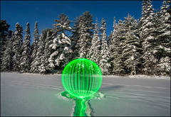 Sighting On Mew Lake In Full Moonlight (Rodrick Dale) Tags: park lake snow ontario canada lightpainting green frozen orb algonquin mew