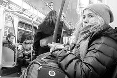 Passenger (Pradipta Basu) Tags: trip winter portrait toronto ontario canada girl face lady train subway fuji ttc journey blonde passenger matro project365 x100s pradiptabasu