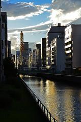 Dtonbori Canal Twilight (pokoroto) Tags: autumn japan canal twilight october   osaka kansai 2014 10 osakaprefecture    kannazuki  dtonbori  themonthwhentherearenogods 26
