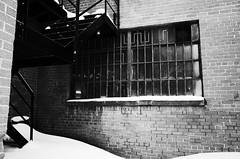 Les petites vitres  laver... (woltarise) Tags: magasin montral 28mm nb neige gr secours ricoh escalier outremont fentres arrire apsc