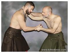 Chocolate Kilt and Olive Kilt (kiltedbros) Tags: kilt handmade kilted gaybears almostnaked regimental utilitykilt freeballing nopeeking cargokilt kiltedbros