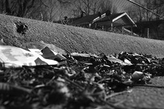 Untitled B&W Urban Study (Jeffrey Deal) Tags: street urban bw white house black contrast 35mm canon blackwhite high angle decay cigarette 14 wide highcontrast sigma wideangle study pack marlboro and 5d practice cigarettes backandwhite mrkii canon5dmrkii sigma35mm14