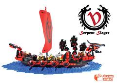Serpent Slayer (crayonbricks) Tags: ship dragon lego serpent vikings viking longship moc afol