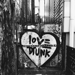 Love Drunk (kristinduvallphoto) Tags: blackandwhite brooklyn photography graffiti vsco