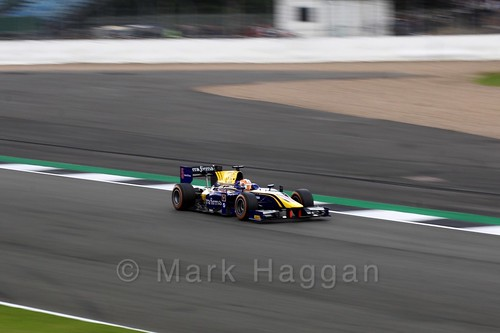 Alex Lynn in the DAMS car in GP2 Practice at the 2016 British Grand Prix