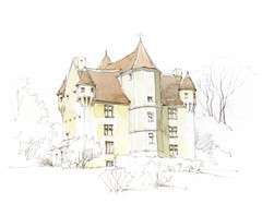 Courboyer, Orne, France (Linda Vanysacker - Van den Mooter) Tags: courboyer orne france 2016 watercolour visiblytalented vanysacker vandenmooter tekening sketch schets potlood pencil lindavanysackervandenmooter lindavandenmooter drawing dessin croquis crayon art aquarelle aquarell aquarel akvarell acuarela acquerello kasteel chteau castle manoir frankrijk