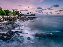 Tropical Sunrise (Laith Stevens Photography) Tags: ocean longexposure pink sea orange green clouds sunrise rocks waves slow purple pastel ngc smooth olympus tropical f28 omd em1 1240mm olympusinspired
