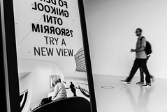 TRY A NEW VIEW (Heinz Wille) Tags: leica m8 28mm elmarit wetzlar leitzpark leicaheadquarter reflection mirror monochrome bw schwarzweiss schwarzweis blur rangefinder