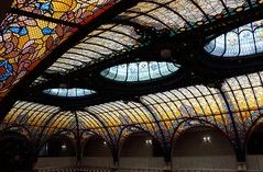 The glass roof of the Gran Hotel Ciudad de Mexico. One of the ornate lifts (elevators) was filmed in the James Bond film Spectre. (Shandchem) Tags: mexico city centre the glass roof gran hotel ciudad de one ornate lifts elevators was filmed james bond film spectre