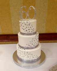 60th Anniversary Cake - Platinum (Creative Cakes - Tinley Park) Tags: 60th anniversary platinum rhinestones diamonds