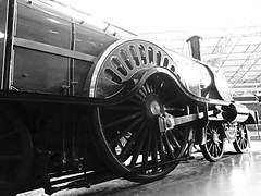 The Stirling Single. (ManOfYorkshire) Tags: nrm national railway museum york trains steam engine locomotive display stirling single tender 422 driving wheel connectingrod doncaster built preserved history bw blackwhite no1 patrick 1870 1907 2016