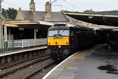 """Carnforth Station Furness Platform 2 sees Brush Type 4 No. 47237 & 47760 with the early morning 1Z25 WCR """"Scarborough Spa Express""""  (steamdriver12) Tags: carnforth furness platform 2 brush type 4 no 47237 47760 early morning 1z25 wcr west coast railway company scarboroughspaexpress diesel electric locomotive heritage lancashire england charter train"""