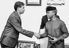 Vice President Prof. Yemi Osinbajo SAN in a handshake with Mr. B.N. Reddy India High Commissioner during a courtesy visit
