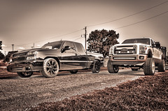 2rigs2 (Strangely Different) Tags: diesel chevy 1500 powerstroke ford silverado slammed jacked force american 22x14 1958 delray