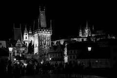 Prague (romanboed) Tags: charles bridge karluv most spires night black white monochrome bw lanterns glowing leica m 240 summilux 50 czech europe cesko czechia prague praha prag praag praga mala strana lesser quarter summer city cityscape street travel tourism