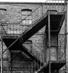 No Escape (Barry Carr) Tags: olympus fireescape building monochrome decay abandondedbuilding urban scotland city omdem1 bw olympusomdem1 dundee blackandwhite