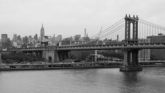 Manhattan Bridge Detail (holl7510) Tags: bw brooklyn manhattanbridge empirestatebuilding nyc skyline city eastriver blackwhite
