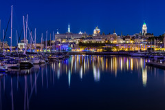 Quebec City - blue hour (le cabri) Tags: quebeccity quebec cityscape bluehour water sailboat masts old city frontenac chateau castle price building canada seminaire seminary iconic bassinlouise summer night boats marina