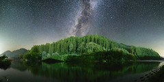 1321 (Keiichi T) Tags: milkyway sky     eos  green canon reflection shadow japan    star mountain night forest tree  water     6d   river light