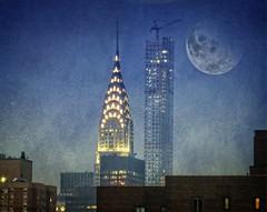 Beauty and the beast (Goggla) Tags: park street new york nyc moon building texture architecture night skyscraper manhattan midtown chrysler chryslerbuilding avenue 57th 16x20 432 texturebysunsetsailor 432park