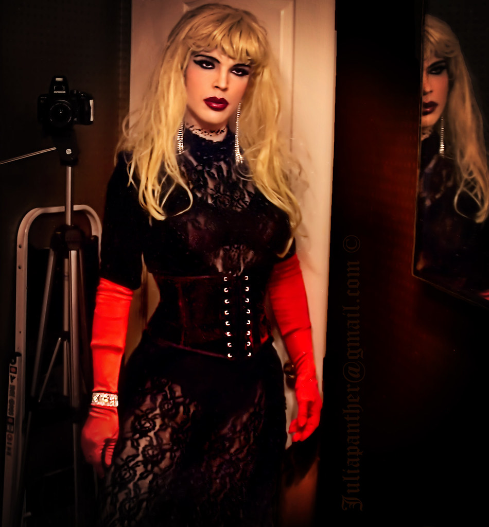... sissy blonde makeover lipstick jewelery tight satin timer diva panther