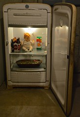 Baby in the Kelvinator (ricko) Tags: old baby beer toy salad doll orangejuice refrigerator kelvinator mdpd2015 mdpd1503