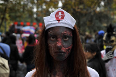 Blood bank (BrianGeorgeM) Tags: street city portrait italy milan halloween girl photography 50mm nikon italia zombie walk milano young streetphotography makeup dressedup af nikkor f18 d700