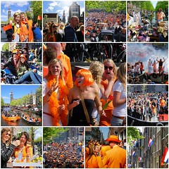 The celebration of Kingsday (Bn) Tags: street girls party feest people music orange holiday holland church boys water netherlands beer colors dutch amsterdam festival collage heineken fun boat dance fdsflickrtoys topf50 kiss kissing king singing dancing market outdoor mosaic smoke free floating kingdom best swing canals collection celebration event creation national trendy muziek carnaval prinsengracht alexander mokum finest gezellig amstel maxima willem jordaan oranje crowded westertoren straat westerkerk wester feestdag grachtengordel panden 50faves koningsdag kingsday 26april dansmuziek