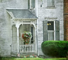 Side Porch...a real eye catcher for me! (Stephanie Calhoun Photography) Tags: flag whitehouse oldhouse porch charming hangingbasket stephaniecalhoun