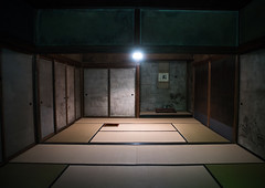 Daitoku-ji temple teahouse, Kansai region, Kyoto, Japan (Eric Lafforgue) Tags: wood old travel homes house heritage history japan horizontal museum architecture night temple japanese wooden kyoto asia interior traditional structures nobody nopeople architectural historic indoors housing typical residence teahouse houseinterior daitoku culturalproperty 0people kansairegion builtstructure colourpicture japan161653