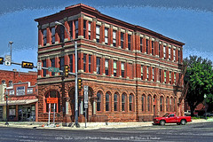 1894 bank building • Taylor, Texas • Poster Edges (SteveMather) Tags: windows red brick photoshop sandstone texas tx bank historic clean national elements taylor posteredges enhance topaz arched