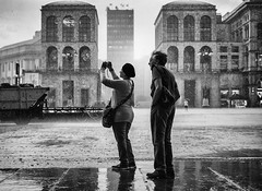 Rain is such spectacular sometimes (Petricor Photography) Tags: street blackandwhite italy white black milan rain photography candid milano raining canonpersonalconnection