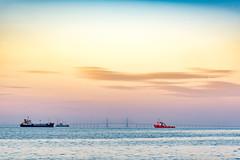 Penang Bridge, Malaysia (EekuangOoi Photography) Tags: morning bridge sea water contrast sunrise photography boat town george colours outdoor ships structure georgetown malaysia penang pulau pinang  ooi     eekuang