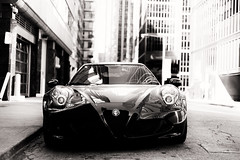 Take a picture, it'll last longer (DHaug) Tags: alpharomeo 4c toronto urban deserted sportscar automobile reflections blackandwhite noiretblanc monochrome quiet italian architecture parked outside alone fujifilm xpro2 xf35mmf14r explore explored