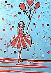 Feria (Cinta Aller Krhe) Tags: pintura dibujo ilustracin globos nia rojo feria cielo gracias felicidad labottegadellarte cpetronilacasado18 burgos spain giggi cintaallerkrhe